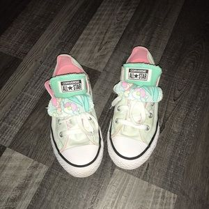 Girls Converse All Stars, mint green, teal, pink